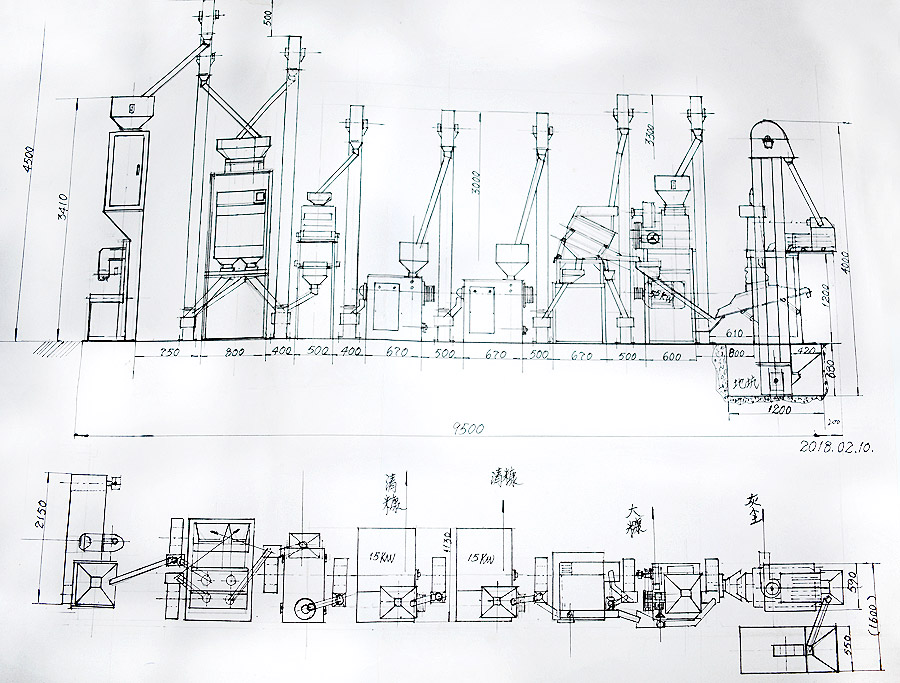 rice mill production line drawing